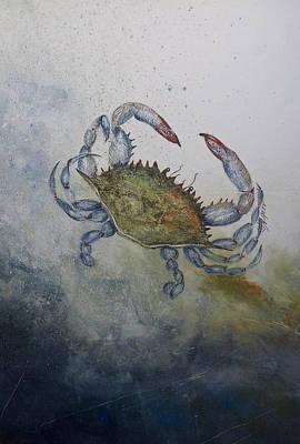 Blue Crab Mixed Media - Blue Crab Print by Nancy Gorr