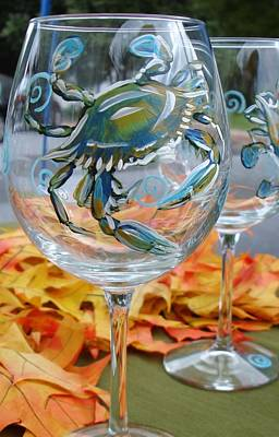 Painting - Blue Crab Wine Glass by Sarah Grangier
