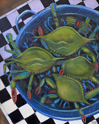 Blue Crabs In Pot Art Print by Dwain Ray