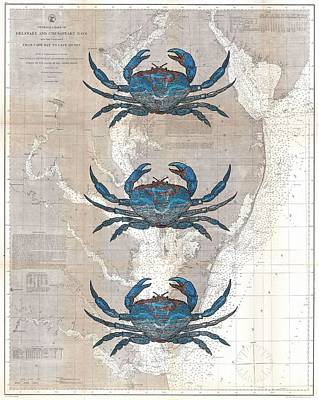 Blue Crabs On 1866 Chesapeake Coastal Map Original by Suzanne Powers