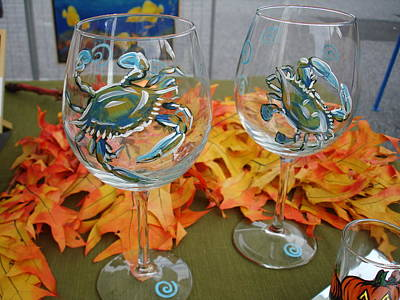 Painting - Blue Crabs On Wine Glasses by Sarah Grangier