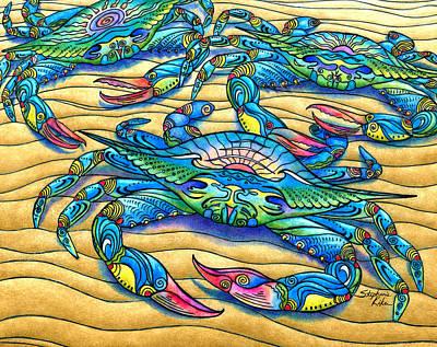 Blue Crab Drawing - Blue Crabs by Stephanie Kiker