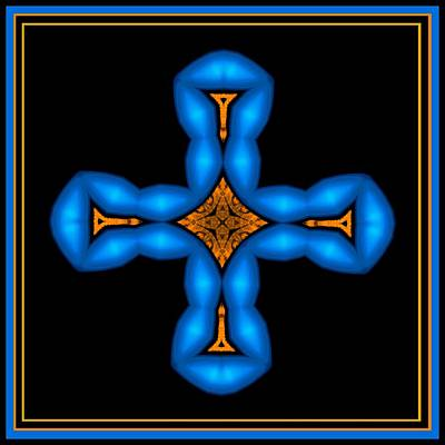 Blue Cross On Black Baclkground Art Print