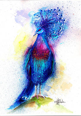 Pigeon Mixed Media - Blue Crowned Pigeon by Isabel Salvador