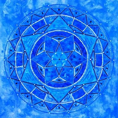 Blue Crystal Mandala Art Print by Vlatka Kelc