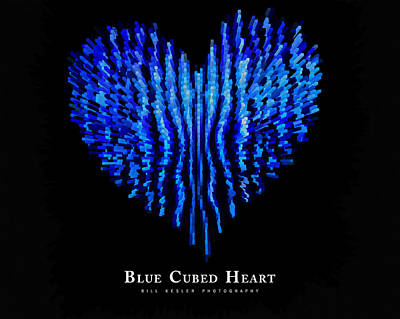 Photograph - Blue Cubed Heart by Bill Kesler