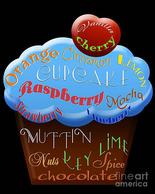 Raspberry Digital Art - Blue Cupcake Typography by Andee Design