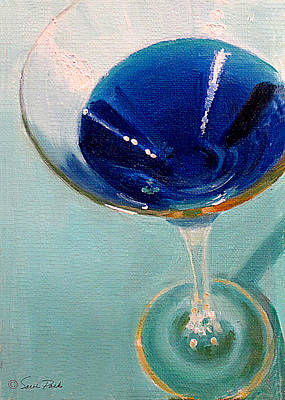 Martini Painting Royalty Free Images - Blue Curacao Royalty-Free Image by Sarah Parks