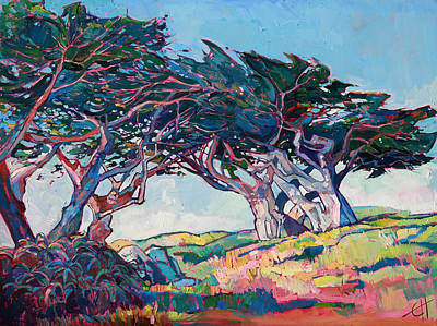 Morning Light Painting - Blue Cypress by Erin Hanson