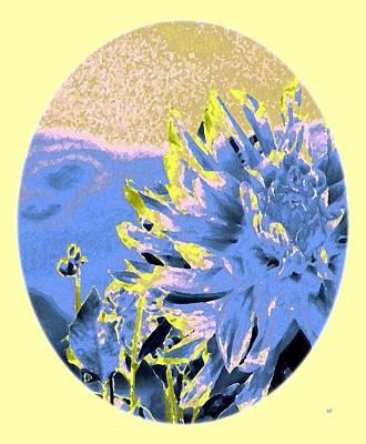 Oval Digital Art - Blue Dahlia Watercolor by Will Borden