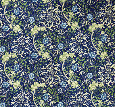 Tapestries - Textiles Tapestry - Textile - Blue Daisies Design by William Morris