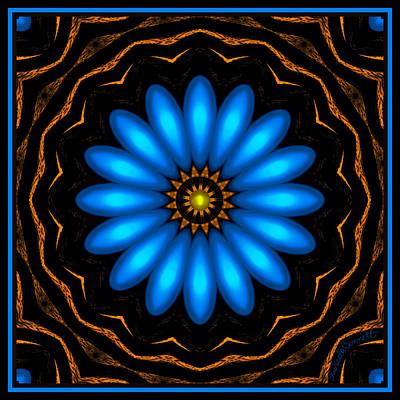 Digital Art - Blue Daisy Flower by Marcela Bennett