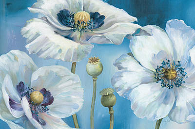 White Flower Painting - Blue Dance I by Lisa Audit