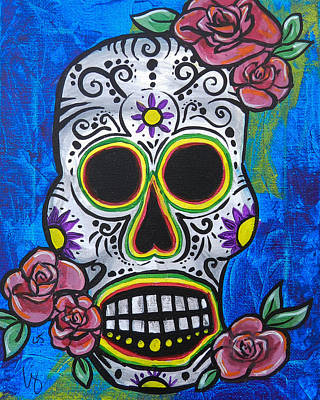 Saint-lo Painting - Blue Day Of The Dead Skull by Lovejoy Creations