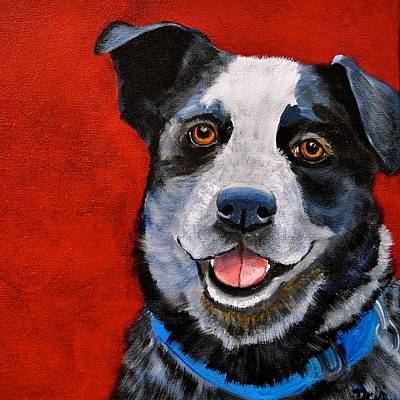 Puppy Lover Painting - Blue  by Debi Starr