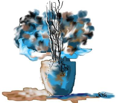 Painting - Blue Decorative Bouquet by Jessica Wright