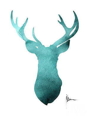 Deer Painting - Blue Deer Antlers Watercolor Art Print Painting by Joanna Szmerdt