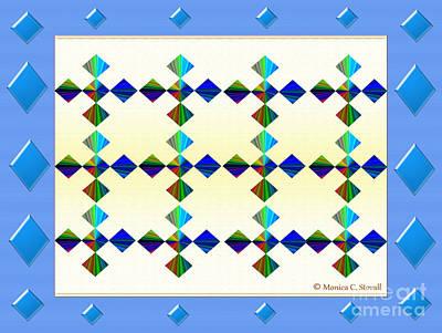 Digital Art - Blue Diamonds Surround Design by Monica C Stovall