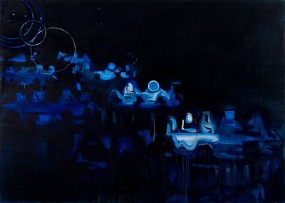 Black Tie Painting - Blue Dining Room by Susie Hamilton