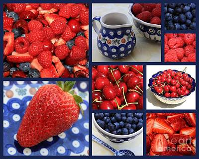 Photograph - Blue Dishes And Fruit Collage by Carol Groenen