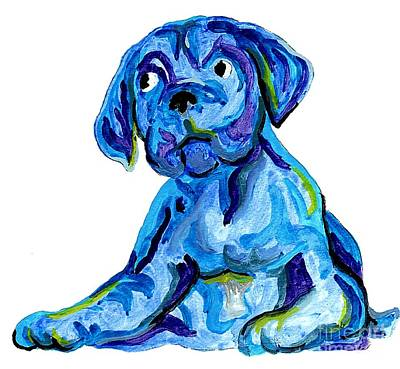 Boxer Puppy Mixed Media - Blue Dog by Dee Phillips