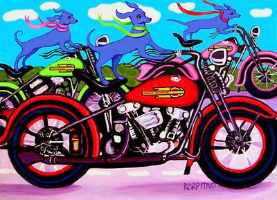 Painting - Blue Dogs On Motorcycles - Dawgs On Hawgs by Rebecca Korpita