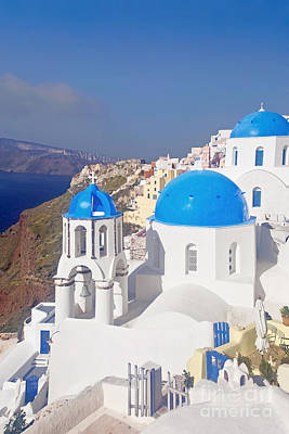 Blue Dome  Art Print by Aiolos Greek Collections