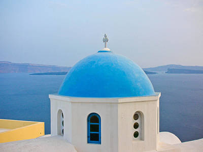 Photograph - Blue Dome Of Santorini by Guy Whiteley