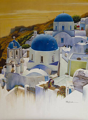 Painting - Blue Domes Of Santorini Greek Islands by Mary Dove