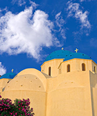 Photograph - blue domes of Santorini by Meirion Matthias