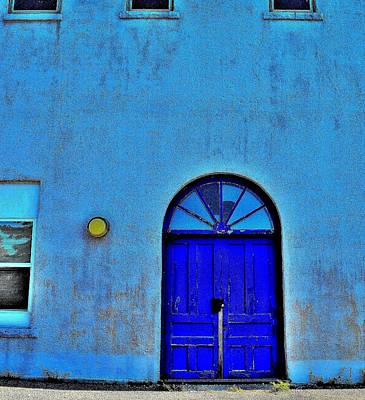 Stained Glass 3 Photograph - Blue Door 3 D Zoom - Canada by Jeremy Hall