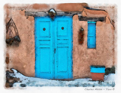 Mixed Media - Blue Door by Charles Muhle