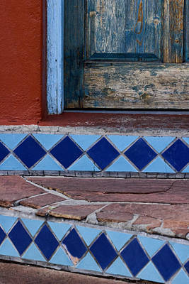 Blue Doors Photograph - Blue Door Colorful Steps Santa Fe by Carol Leigh