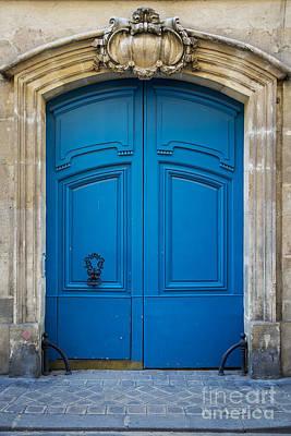 Photograph - Blue Door In Marais by Brian Jannsen