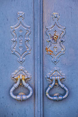 Photograph - Blue Door Knockers by David Letts
