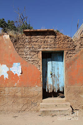 Blue Door Olinala Mexico Art Print by Linda Queally