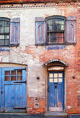Photograph - Blue Door Red Wall by Julie VanDore