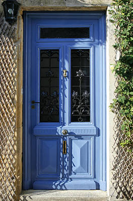 Blue Door With Dappled Sunlight Art Print by Georgia Fowler