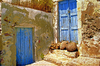 Blue Doors Of Santorini Art Print