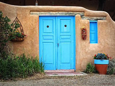 Blue Doors Of Taos Art Print by Lucinda Walter