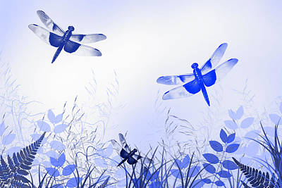 Blue Dragonfly Art Art Print