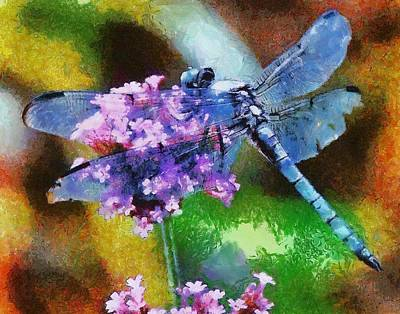Painting - Blue Dragonfly On Wild Garlic by Tracey Harrington-Simpson