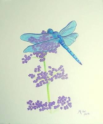 Drawing - Blue Dragonfly by Peggy Miller