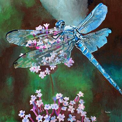 Painting - Blue Dragonfly by Tracey Harrington-Simpson