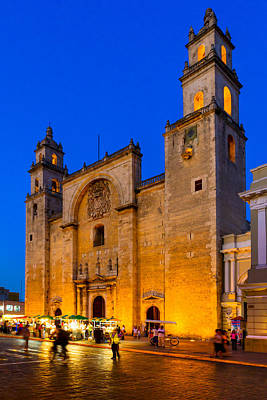 Photograph - Blue Dusk Falls On Merida Cathedral - Mexico by Mark E Tisdale