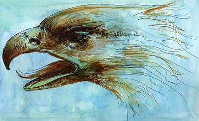 Watercolor With Pen Mixed Media - Blue Eagle Influenced By Past Master by Victoria Stavish