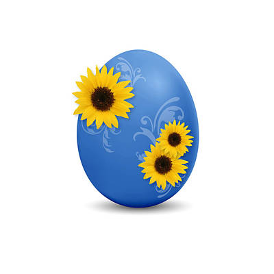 Florals Drawings - Blue Easter Egg by Aged Pixel
