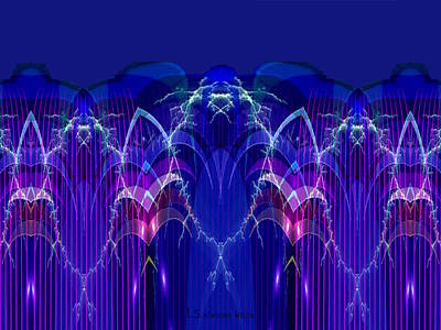 Sound Digital Art - Blue Electric Sound - 913 by Irmgard Schoendorf Welch