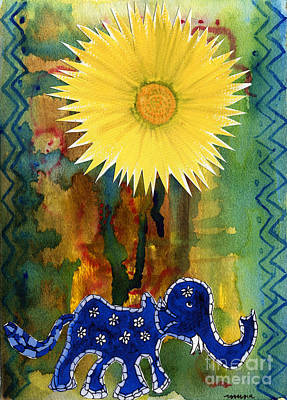 Art Print featuring the painting Blue Elephant In The Rainforest by Mukta Gupta