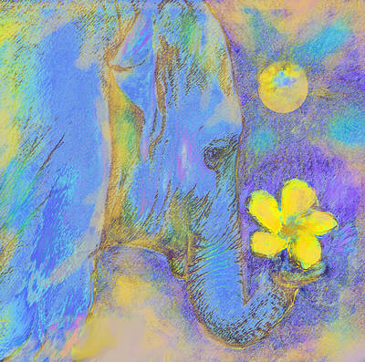 Digital Art - Blue Elephant by Jane Schnetlage